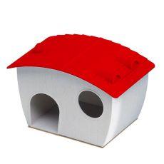 Häuschen für Hamster - Kunststoff, rotes Dach, 14x9,5x8,8 cm