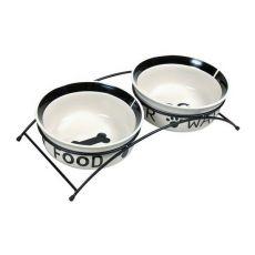 Zwei Keramiknäpfe mit Ständer - 2 x 1,6 l