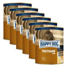 Happy Dog Pur - Truthahn, 6 x 800 g, 5+1 GRATIS