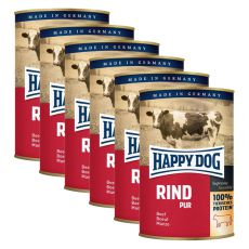 Happy Dog Pur - Rind, 6 x 400 g, 5+1 GRATIS