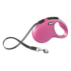 Flexi Leine New Classic S bis zu 15 kg, 5 m Gurt - rosa