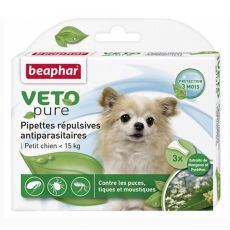 Tropfen gegen Ungeziefer für kleine Hunde, natürlich - 3 Stk