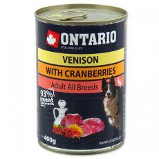 Dose ONTARIO für Hund, Wildfleisch, Preiselbeeren und Öl - 400g