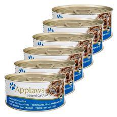 Applaws Cat - Dose für Katzen mit Thunfisch und Krabben, 6 x 70g