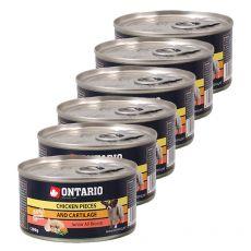 Dose ONTARIO Junior für Hund mit Huhnstücken + Knorpel, 6 x 200g