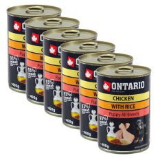 Dose ONTARIO Puppy für Hund mit Hühnerfleisch, Reis und Öl - 6x400g