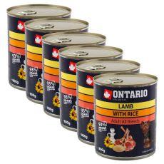 Dose ONTARIO für Hund mit Lammfleisch, Reis und Öl - 6x800g