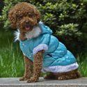 Hundejacke mit abnehmbarer Kapuze - blau, M
