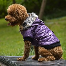 Hundejacke mit Kunstfell - lila, XS