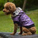 Hundejacke mit Kunstfell - violett, XL