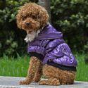 Hundemantel mit schwarzem Bündchen - violett, M