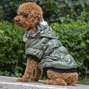 Hundemantel mit schwarzem Bündchen - grün, S