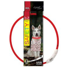 Halsband Dog Fantasy LED nylon - rot, 65cm