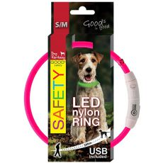 Halsband Dog Fantasy LED nylon - rosa, 45cm