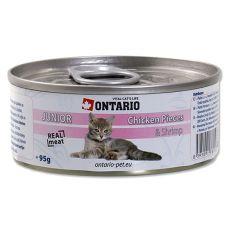 ONTARIO Junior Nassfutter - Huhn und Garnelen - 95 g