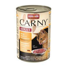 Feuchtfutter CARNY ADULT Rind, Huhn + Entenherzen - 400 g
