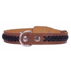 Lederhalsband - 38 - 50cm, 25mm - braun/schwarz