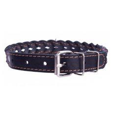 Geflochtenes Lederhalsband- 42 - 54cm, 25mm - schwarz