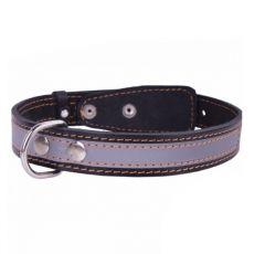 Lederhalsband reflektierend - 38 - 50cm, 25mm - schwarz