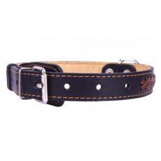 Lederhalsband - 47 - 62cm, 35mm - schwarz/braun
