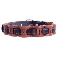 Lederhalsband - 34 - 40cm, 20mm - schwarz/braun