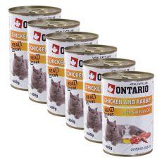 ONTARIO Dose für Katze - Huhn, Kanninchen und Öl - 6 x 400g