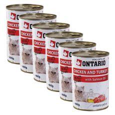ONTARIO Dose für Katzen - Huhn, Pute und Öl - 6 x 400g