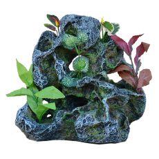 Aquarium Dekoration 2159 - Felsen mit Kunststoff-Pflanzen