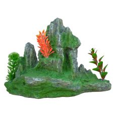 Aquarium Dekoration 2171 - grüner Felsen mit Pflanzen