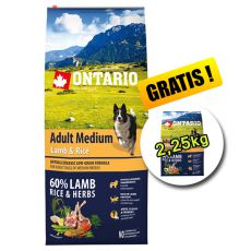 ONTARIO Adult Medium Lamb & Rice 12kg + 2,25kg GRATIS