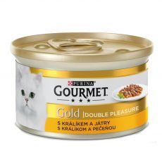 Nassfutter Gourmet GOLD - gegrilltes und geschmortes Kaninchen und Leber, 85g