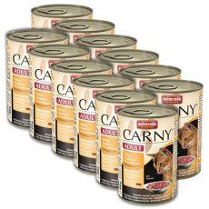 Feuchtfutter CARNY ADULT Rind, Huhn + Entenherzen - 12 x 400g