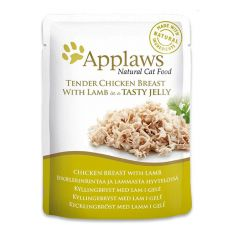 Nassfutter APPLAWS Cat Pouch, Huhn und Lamm in Jelly 70g