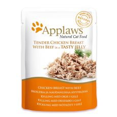 Nassfutter APPLAWS Cat Pouch, Huhnd und Rind in Jelly 70g