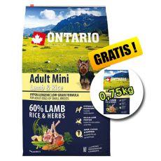 ONTARIO Adult Mini Lamb & Rice 6,5kg + 0,75kg