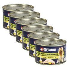Feuchtnahrung ONTARIO Gans mit Preiselbeeren und Leinsamenöl, 6x 200g
