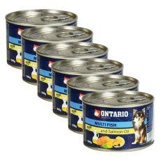 Feuchtnahrung ONTARIO Multi Fish und Lachsöl, 6 x 200g