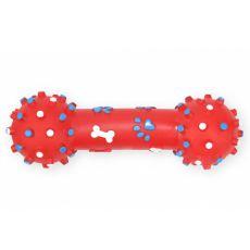 Hundespielzeug - Hantel aus Vinyl, quietschend, rot, 26cm