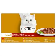 Feuchtnahrung Gourmet GOLD - Stückchen in Soße, 4 x 85 g