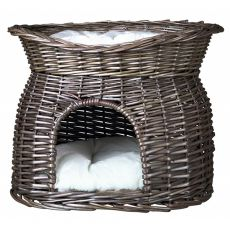 Weidenkorb für Hunde oder Katzen - grau