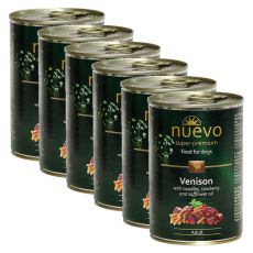 Nassfutter NUEVO DOG Adult Venison Menue 6 x 400 g, 5 + 1 GRATIS