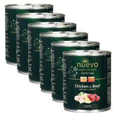 Feuchtnahrung NUEVO DOG Junior Chicken & Beef 6 x 800 g, 5 + 1 GRATIS