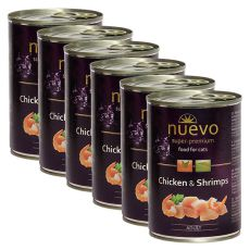 Feuchtnahrung NUEVO CAT Adult Chicken & Shrimps 6 x 400 g, 5 + 1 GRATIS