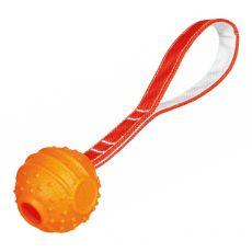 Hračka pre psa - lopta na šnúre, oranžová, 6 x 26cm