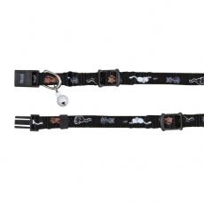 Halsband für Katzen, mit einem Motiv, schwarz - 15 - 20 cm
