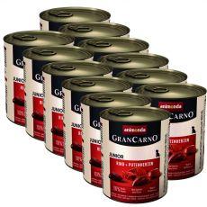 Dose GranCarno Fleisch Junior Rind+Putenherzen - 12 x 800g