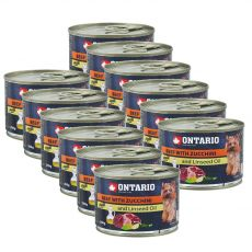 Feuchtnahrung ONTARIO Rind mit Zucchini und Leinsamenöl – 12 x 200g