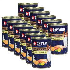 Feuchtnahrung ONTARIO Kalb mit Süßkartoffeln und Leinsamenöl – 12 x 400g