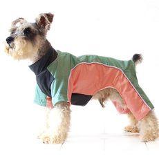 Hundeoverall - grün und lachsfarben, XS