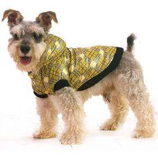 Jacke für Hunde - kariert, gelb, L